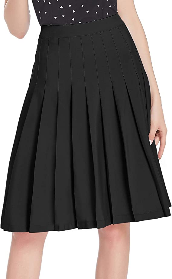 1930s Style Skirts : Midi Skirts, Tea Length, Pleated Belle Poque Women Girls Skater Skirt High Waisted Pleated Skirt BPS2121 $21.99 AT vintagedancer.com