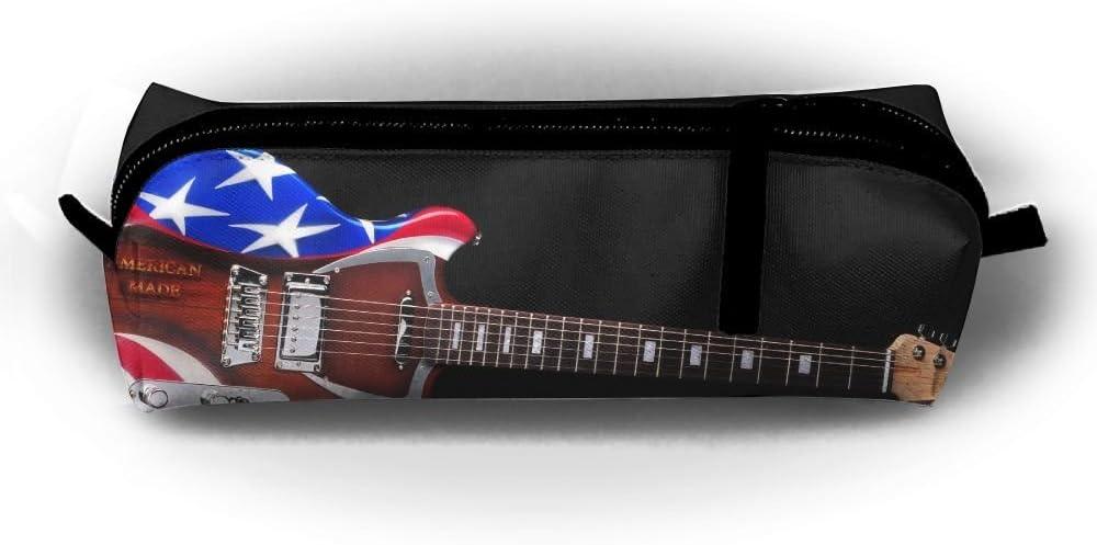 Estuche para lápices de guitarra eléctrica con diseño de bandera de Estados Unidos, bolsa de maquillaje pequeña con cremallera, para niños, adolescentes y otros suministros escolares.: Amazon.es: Oficina y papelería