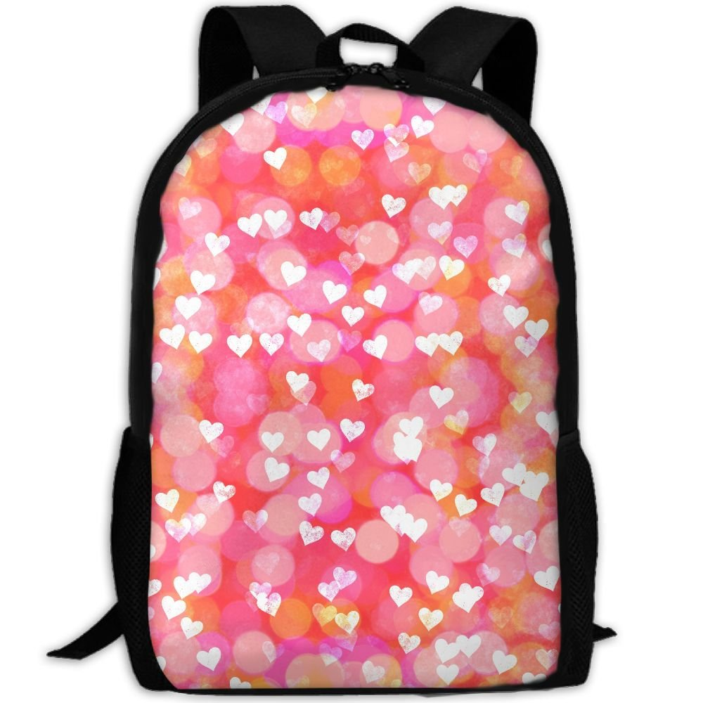 OIlXKV Pink Heart Love Pattern Print Custom Casual School Bag Backpack Multipurpose Travel Daypack For Adult by OIlXKV