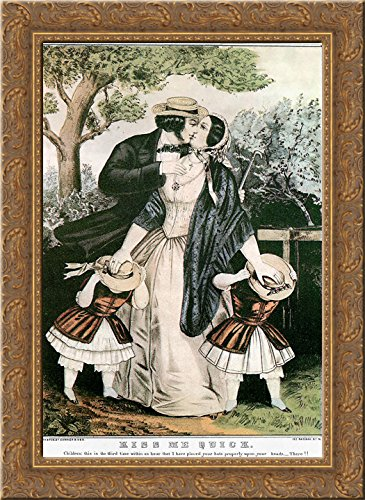- Kiss me quick 24x18 Gold Ornate Wood Framed Canvas Art by Currier and Ives