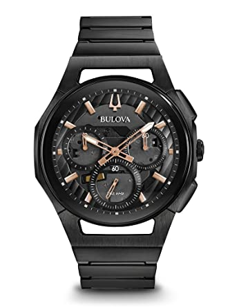 dcc30491dee Amazon.com  Bulova Men s Curv Bracelet - 98A207 Black One Size  Watches