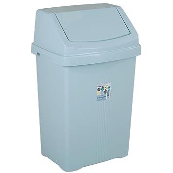 Mülleimer 50 Liter Abfalleimer mit Schiebedeckel Eimer Papierkorb Abfallsammler