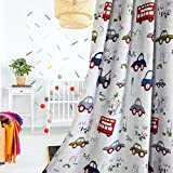 1 Pair Cartoon Car Room Darkening Curtains for Childrens' Room (54'' width by 63'' length)