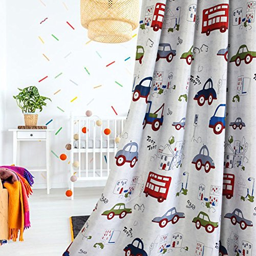 Cars Curtain - 1 Pair Childrens Room Darkening Curtains,Room Decor for Childrens Living Room Bedroom (39