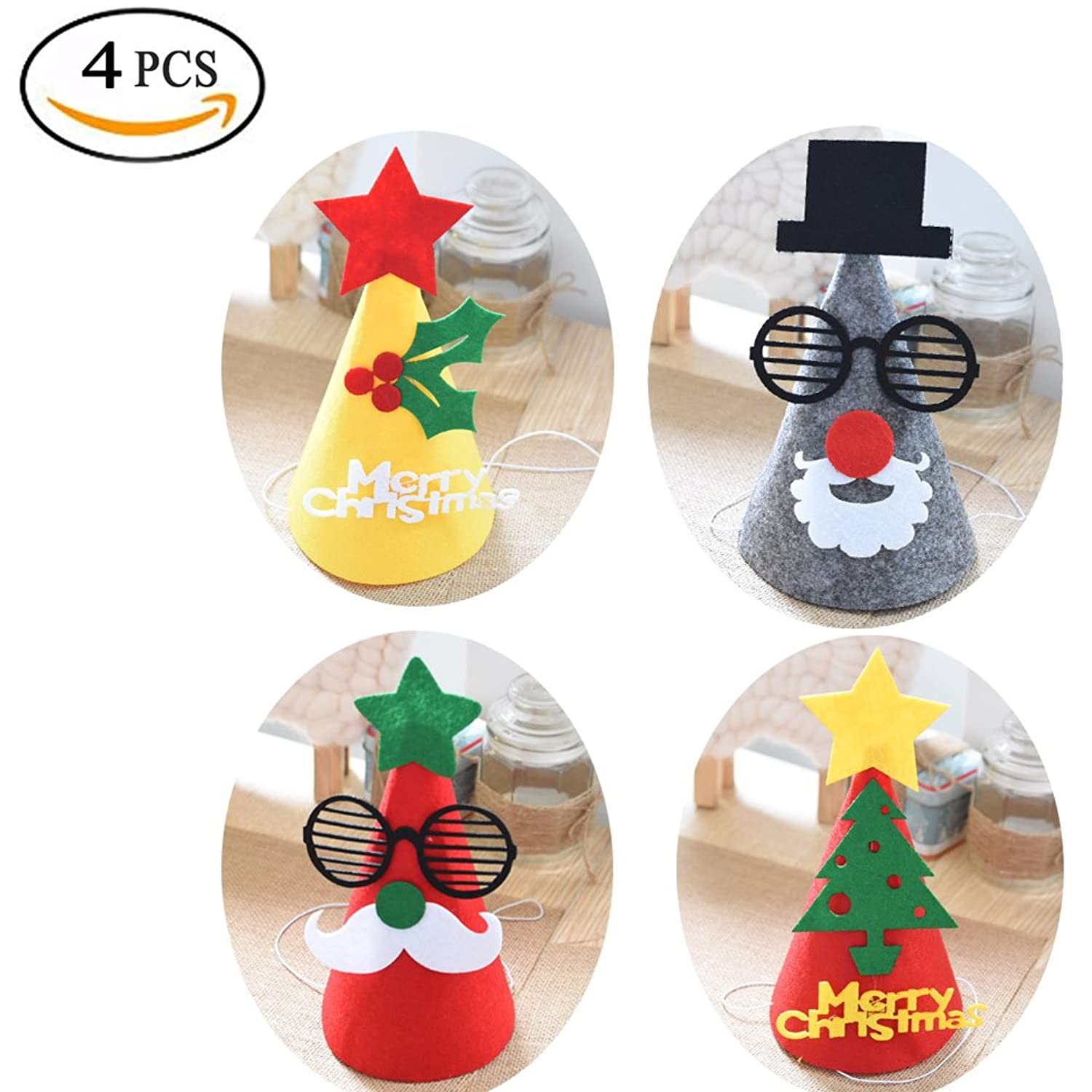 eb393ac9da4 4 Packs Kids Christmas Hat Different Pattern Decoration with