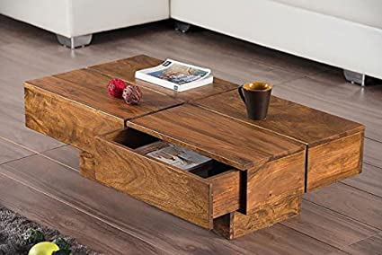RjKart Sheesham Wood Coffee Table For Living Room | Center Table With 2  Drawers And Storage