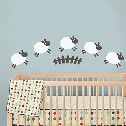 Amazon com sheep wall decal baby room wall sticker nursery wall decor play room wall decal wall mural wall graphic home art decor 1largehead and