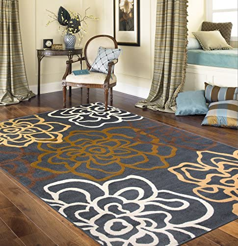 Contemporary Modern Floral Flowers Area Rug 7 10 X 10 2 Brown