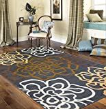 Rugshop Contemporary Modern Floral Flowers Area Rug, 5′ 3″ x 7′ 3″, Brown For Sale
