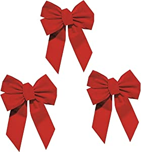Rocky Mountain Goods Red Bow - Christmas Wreath Bow - Great for Large Gifts - Indoor/Outdoor use - Hand Tied in USA - Waterproof Velvet - Attachment tie Included for Easy Hanging (10-Inch 3 Pack)