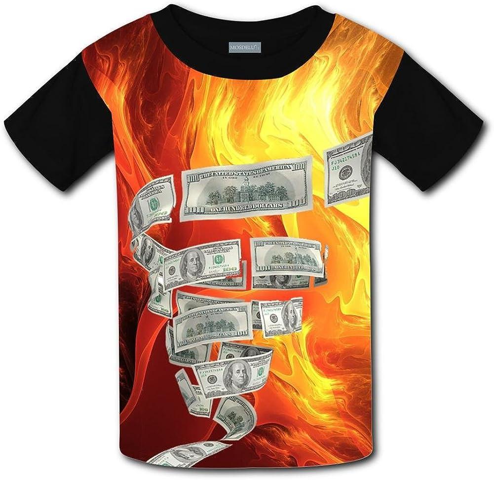 Elcacf Kids//Youth Funny Rotating Dollar T-Shirts Short Sleeve Children Tees