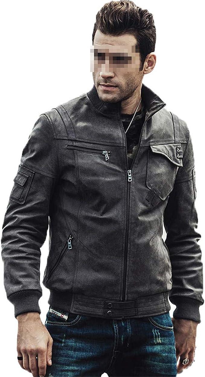 メンズオートバイリアルレザージャケット、爆弾冬の暖かいパディングコットン純正レザージャケット