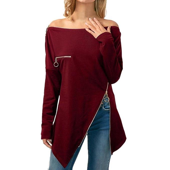 QinMM Mujeres cuello asimétrico camiseta cremallera sin hombro blusas Tops sudadera: Amazon.es: Ropa y accesorios