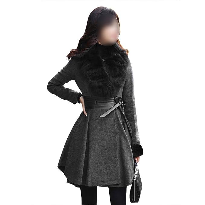 SODIAL(R) HO Mujeres falda cuello del abrigo de piel de invierno ca lido