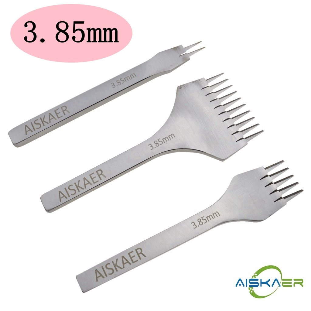 Aiskaer White Steel Flat Chisel Leather Craft Tools Hole Punch Tool Kit (3.38MM)
