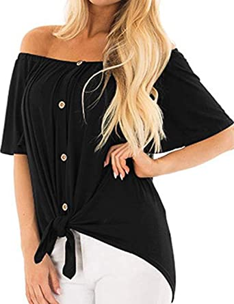 ca5a6ab0 CASODA Black Off Shoulder Shirt Casual Blouse Sexy Tee Strapless Tops for  Women