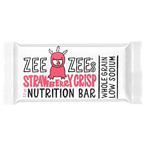 Zee Zees Strawberry Crisp Soft Baked Bars, Nut-Free, Whole Grain, Naturally Flavored and Colored, 2.2 oz Bars, 24 pack