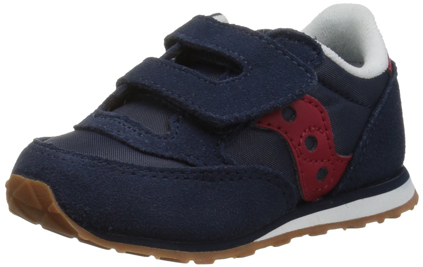 Saucony Jazz Hook & Loop Sneaker (Toddler/Little Kid), Navy/Red, 12 M US Little Kid