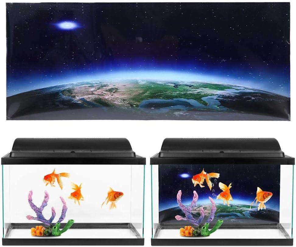 91 * 50cm Aquarium Background Poster Sticker Beautiful PVC Adhesive Earth Moonlight Woods Background Poster Fish Tank Decoration