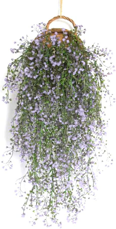 Qingsi 1 Pcs Fake Artificial Vines Flower Wall Hanging Faux Rattan Plant Flower Home Decorfor Wall Indoor Outdoor Hanging Baskets Wedding Garland Decor,Light Purple