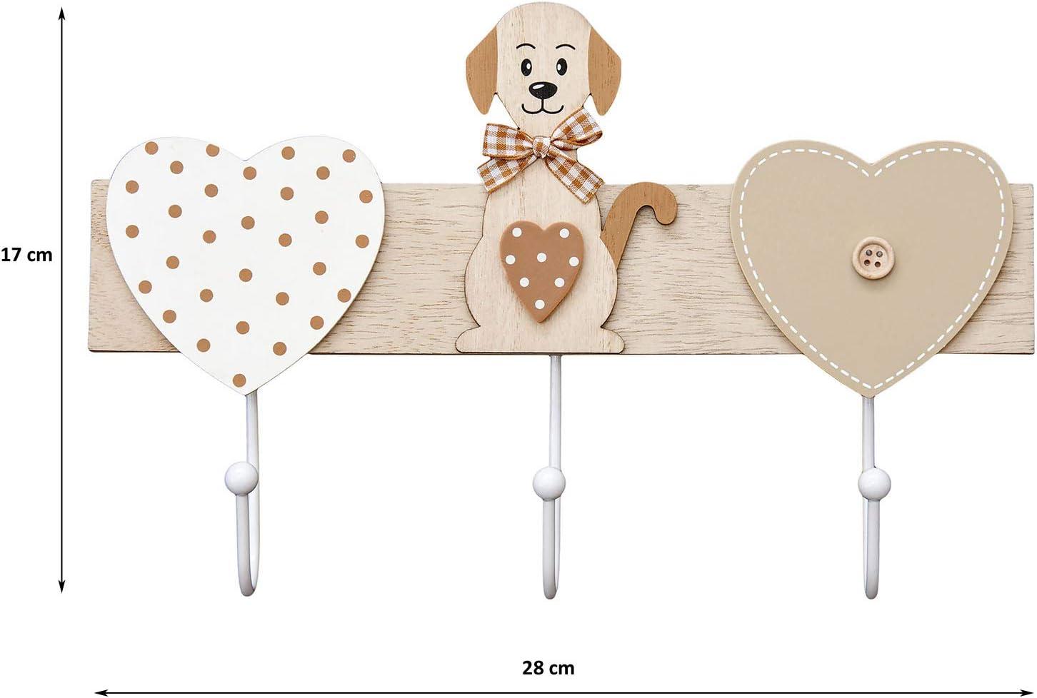 Marron e Bianchi Dog Heart Coat Hook Rack Arredamento Appendiabiti da Muro 3 Ganci in Legno attaccapanni Montato da Parete Ganci Appendiabiti Decorativi con Cuore e Disegno di Animale di Gatto