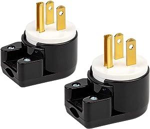 [2PACK] 90 Degree USA Canada Male Plug Nema 5-15P 3 Pole Angle DIY Plug, 15A 125V USA 3Pin Right Angle AC Plug, Nema 5-15P Angled Rewireable AC Plug,12 Direction Male US 3Pole AC Connector, Black