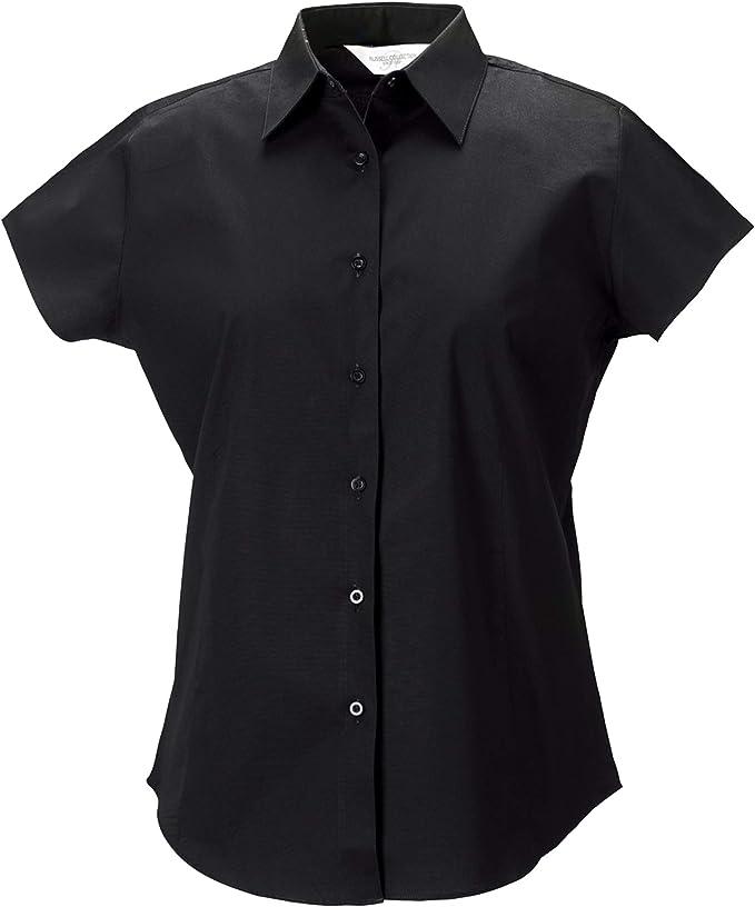 Russell Collection- Camisa de Manga Corta Entallada de fácil Cuidado para Mujer