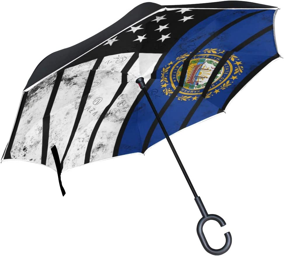 Double Layer Inverted Umbrellas with Distressed American New Hampshire Flag Print Reverse Folding Umbrella for Car