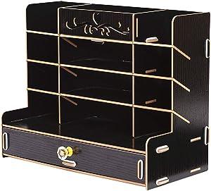 Ayane Wooden Desk Organizer, Multi-Functional DIY Pen pencil Holder Box, Desktop Stationary, Easy Assembly,Home Office Supply Storage Rack with Drawer (202-Black Color)