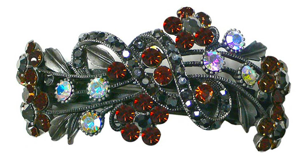 Large Crystal Barrette, Decorated with Topaz and Hematite Crystals, for thick hair OR86015-2smoketopaz