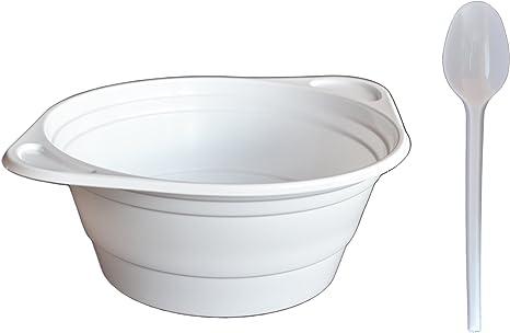 Plástico Plato de sopa Cuenco Juego compuesto de 100 desechables plástico – Bol para sopa (