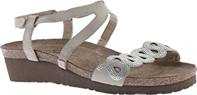 3aba49800f57 Naot Footwear Women s Acacia Beige Snake Leather Khaki Beige Leather Sandal  36 (US Women s