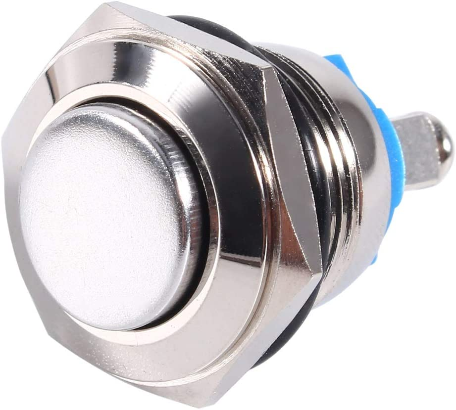 BiuZi Self-Reset Switch 12V 16mm Car Waterproof Horn Switch Engine Starter Momentary Push Button Switch Silver