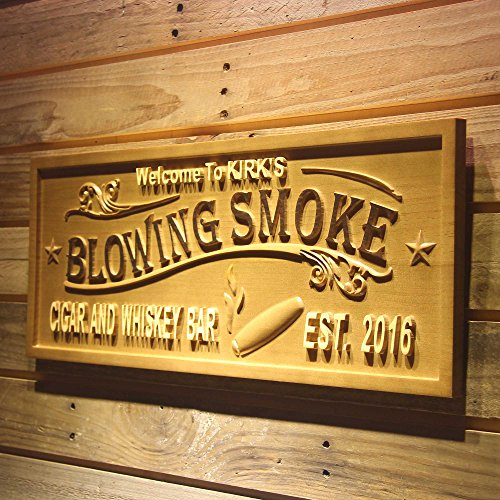 ADVPRO wpa0407 Blowing Smoke Name Personalized Cigar & Whiskey Bar Wood Engraved Wooden Sign - Standard 23