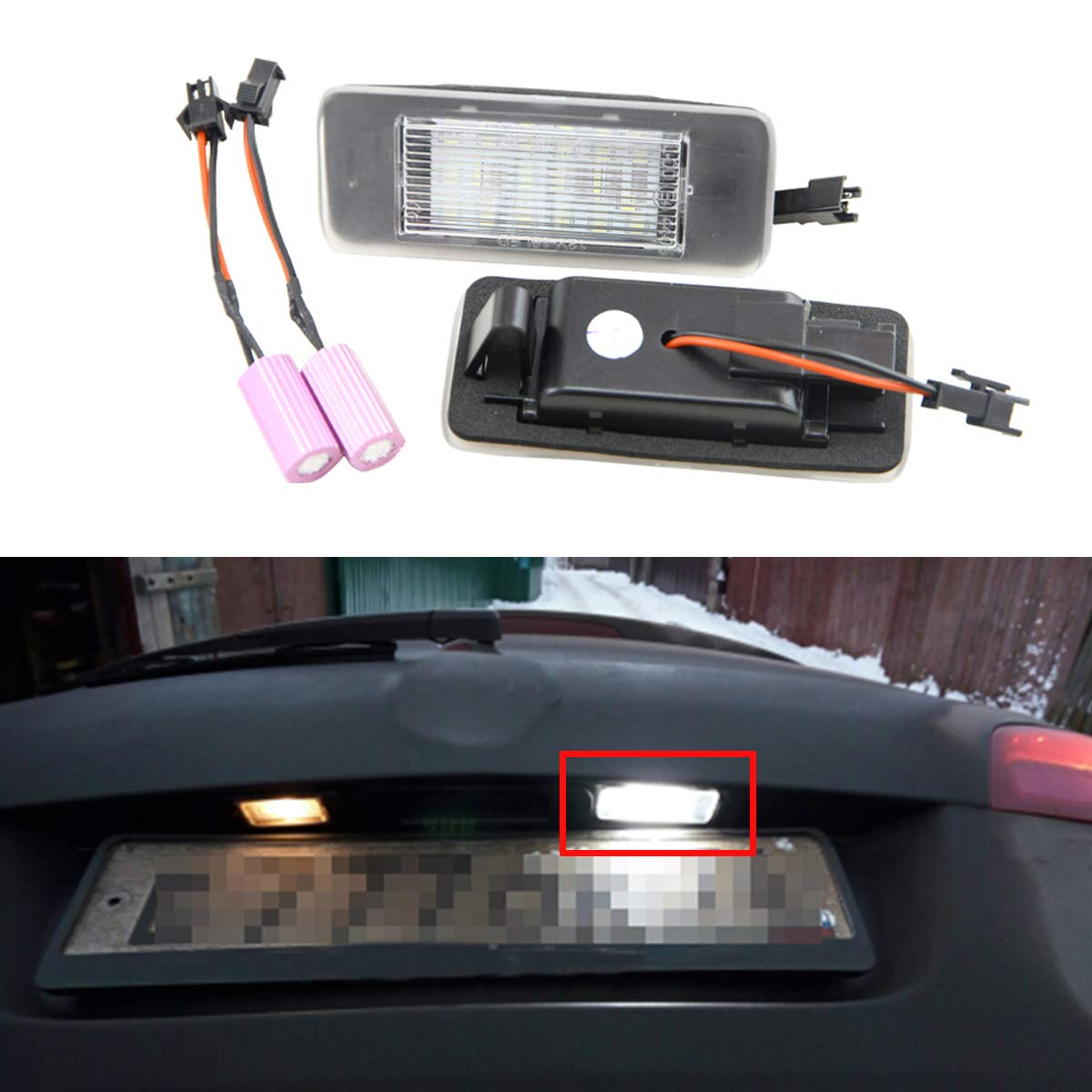 AMBOTHER 2PCS LED License Number Plate Light Lamps PWIXOGKK57
