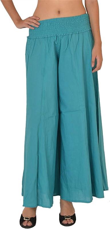 Sns Pantalones Tipo Palazo De Algodon Para Mujer Talles Especiales Azul Azul Amazon Es Ropa Y Accesorios