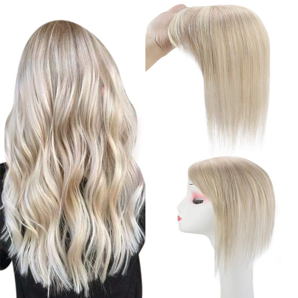 Amazon Com Full Shine Hair Toppers Toupee With Clip Ins 8 Inch Short Blonde Hair Pieces Color 18 Ash Blonde Highlight 613 Bleach Blonde Top Wiglets For Women Invisible Crown Hair Extensions