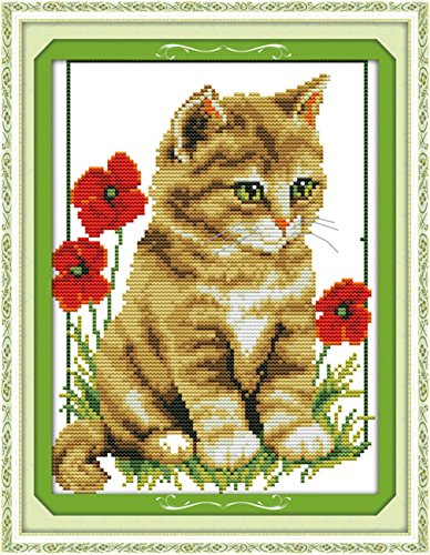 (CaptainCrafts Hots Cross Stitch Kits Patterns Embroidery Kit - Cat And Poppy (STAMPED))