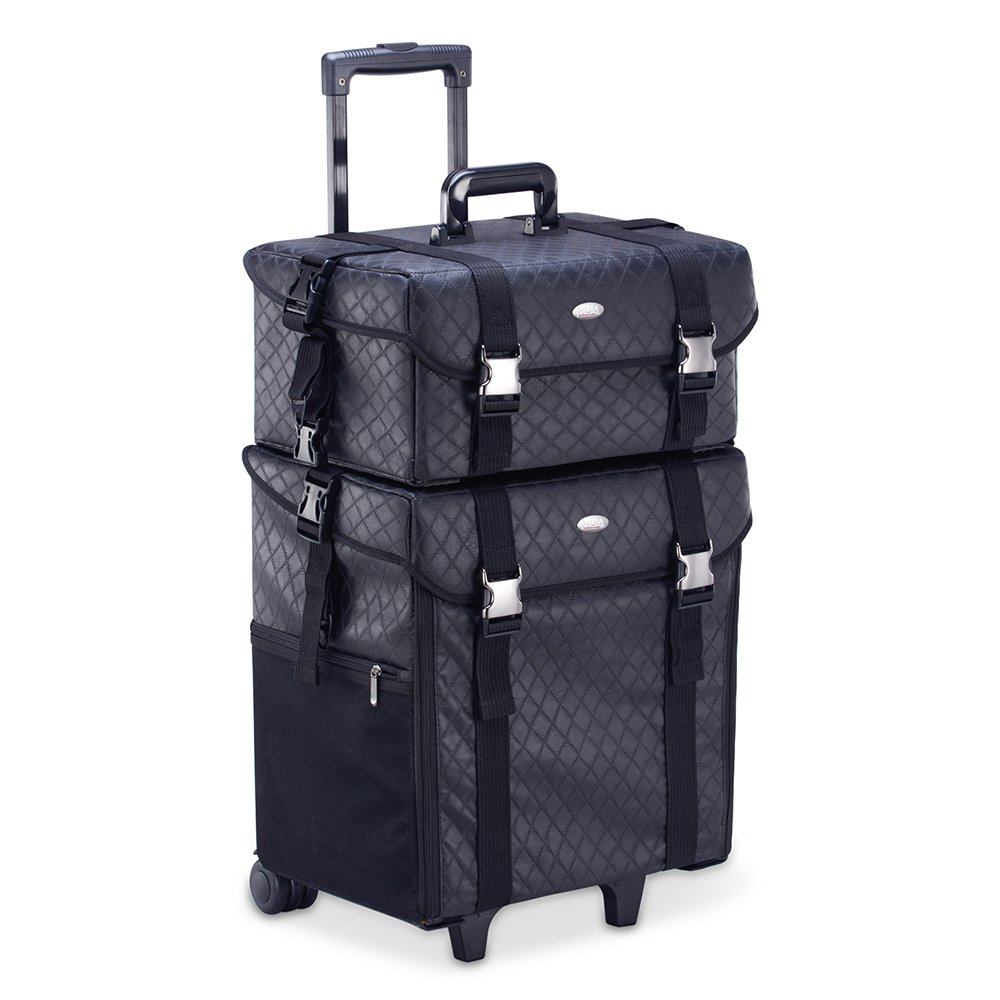 Professional Makeup Artist 2 in 1 Rolling Makeup Train Case Cosmetic Organizer Soft Trolley w/ Storage Drawers & Metal Buckles (Black Quilted)