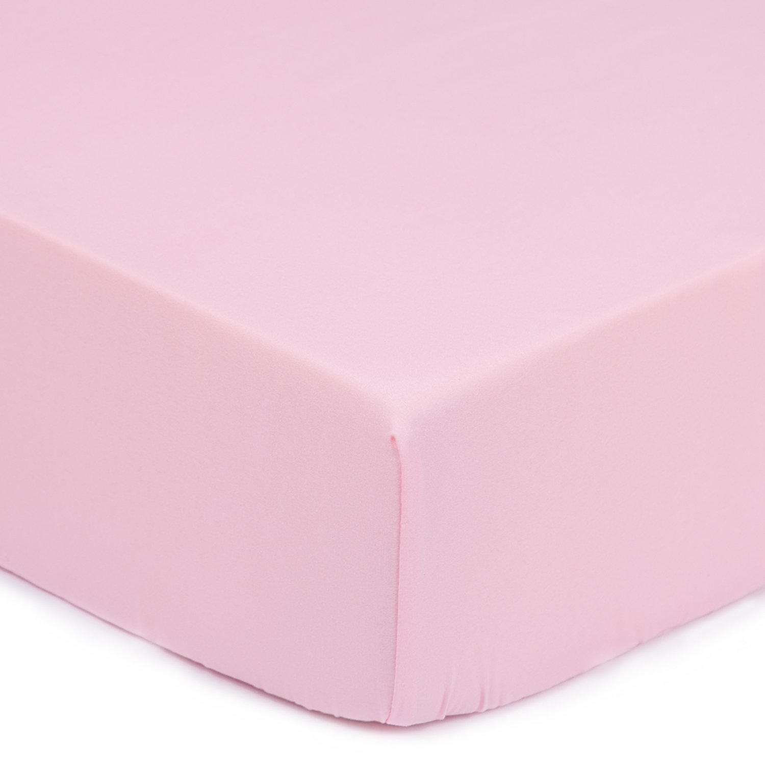 TILLYOU Silky Soft Microfiber Crib Sheet, Breathable Cozy Hypoallergenic Baby Sheets for Girls, 28 x 52in Fits Standard Crib & Toddler Mattress, Jade Pink