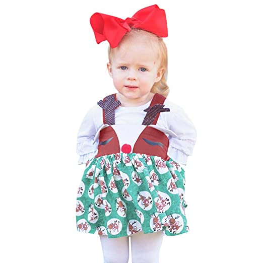 9daee3abfb50 Amazon.com  KONFA Toddler Baby Girls Christmas Cartoon Deers Dress ...