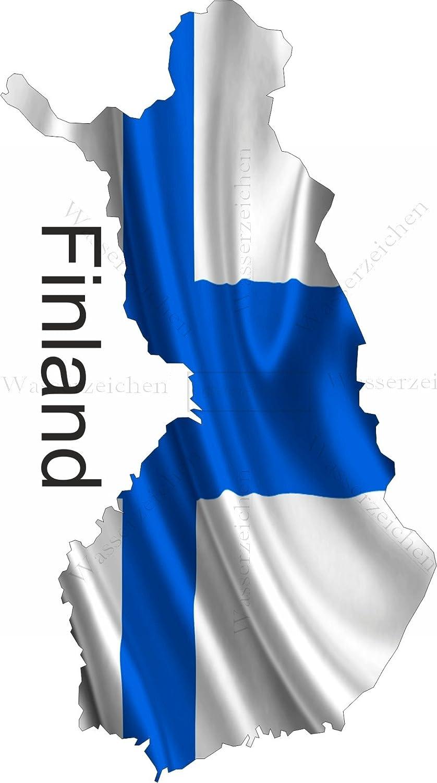 Aufkleber-Folie Wetterfest Made IN Germany Finnland Finland UV/&Waschanlagenfest Auto-Sticker Decal Fahne Flagge Wappen Land FD44 Profi Qualit/ät bunt farbig Digital-Schnitt! 10cm
