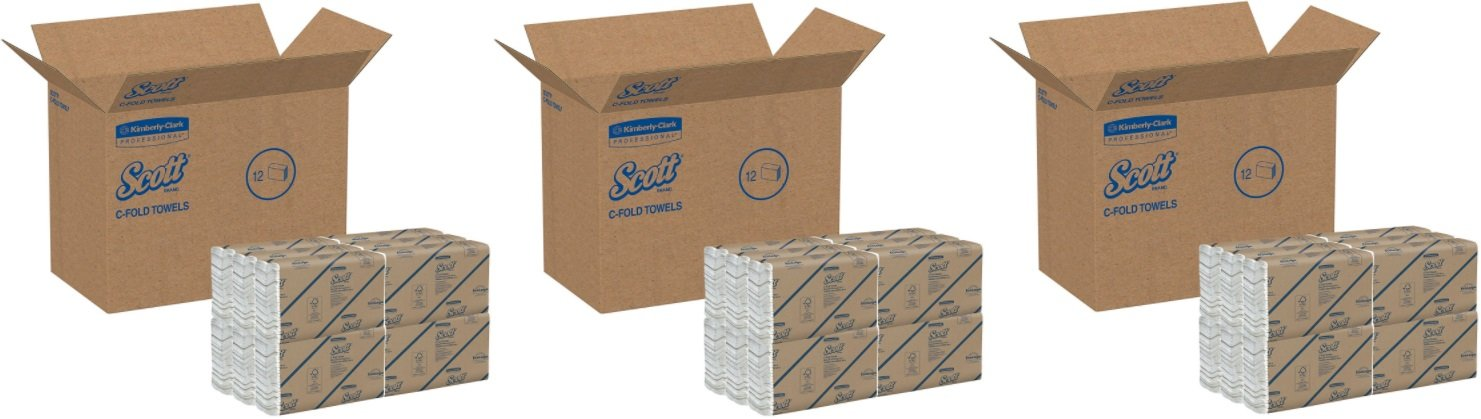 Scott 02920 C-Fold Paper Towels, 100% Recycled, 10 1/10 x 13 1/5, Pack of 200 (3 Case of 12 Packs)