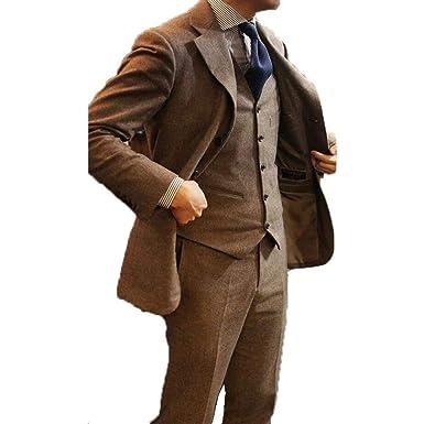 905c20c361 Image Unavailable. Image not available for. Color: Retro Men's Suits Brown  Tweed Herringbone Groom Slim Fit Formal Khaki Blazer Vintage Wedding 3  Pieces