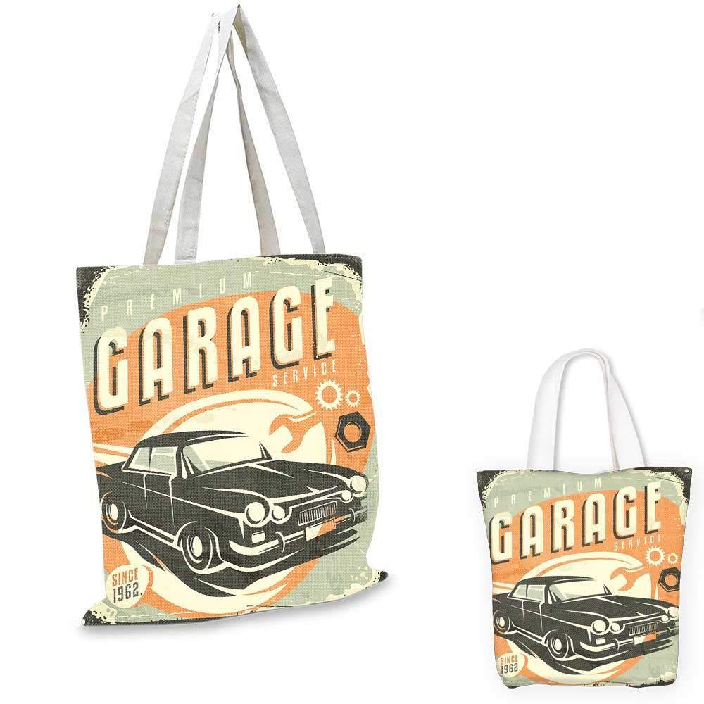 12x15-10 Man Cave canvas messenger bag Grunge Retro Rubber Stamp Vintage Style Garage Custom Motorcycle Repair Art Print shopping bag for women Beige Black