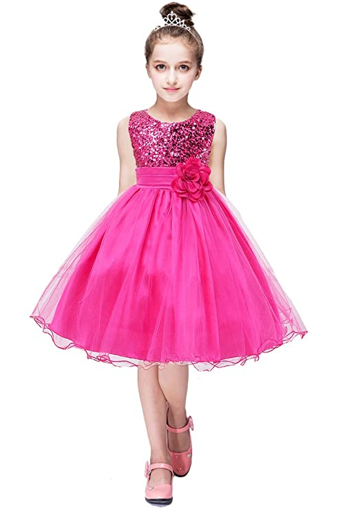 YMING Flower Girls Dress Round Neck Princess Tutu Tulle Evening Dress Rose 0-6 Month