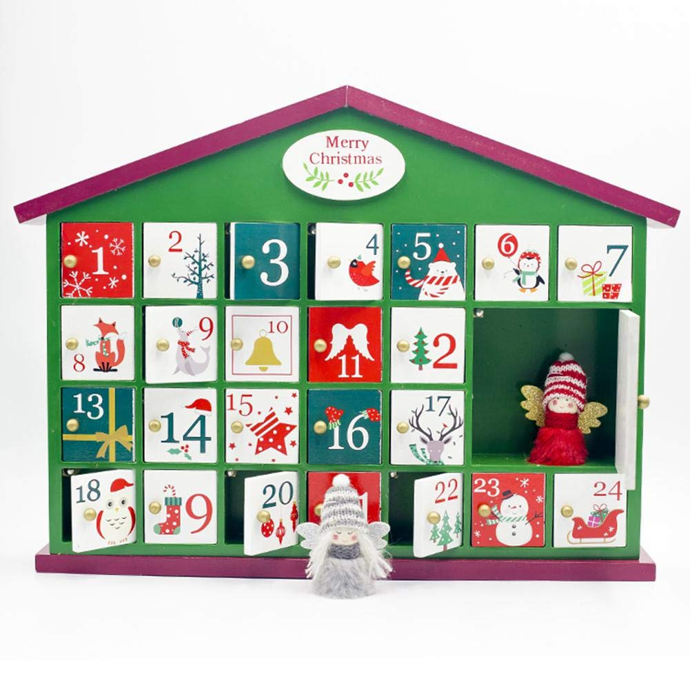 longrep Calendari dellavvento Decorazione Natalizia in legno tradizionale Calendario di Natale Conto alla rovescia Scatola 41 x 32 x 6.5 cm handsomely