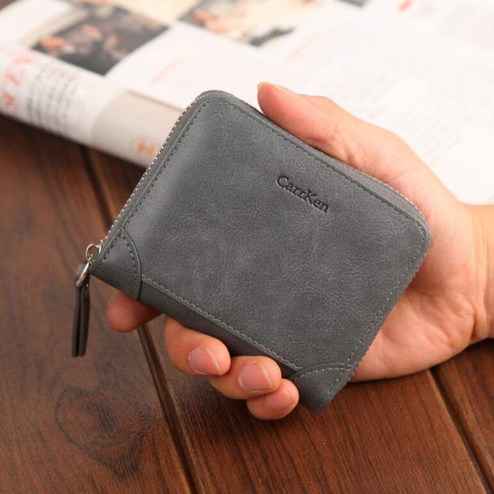 C 11.5x2.5x10.5CM Men's Wallets, MultiFunction Zipper Coin Purse Simple Casual Card Package Fashion Money Clip,A,11.5x2.5x10.5CM