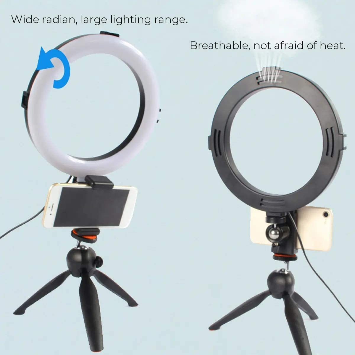 DHUYUN Ring Lights for Phones Photography Adjustable 360/° Rotating Fill Light Live Video Dimmable LED Ring Light with Phone Clip Selfie Holder Tripod for Beauty Makeup White