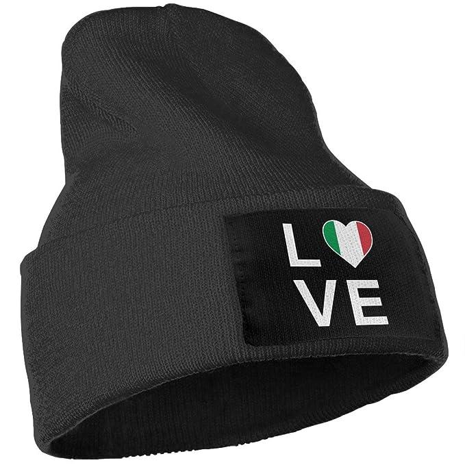 50a172e44151ed Unisex Winter Hats I Love Italy - Italian Patriot Flag of Italy Skull Caps  Knit Hat Cap Beanie Cap for Men/Womens Black at Amazon Men's Clothing store: